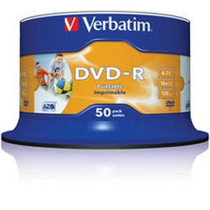 Dvd-r verbatim wide photo inkjet print 120min./4,7gb 16x (printable) - 50 бр. в шпиндел