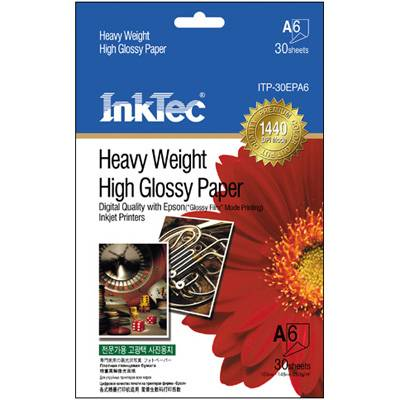 Хартия inktec хартия a6,105x148mm-heavy weight glossy paper 260g/m2,30 бр. - inktec-pap-epa6