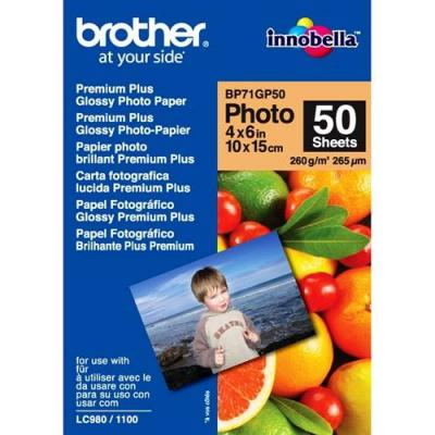 Хартия brother premium plus glossy photo paper, 50 sheets, 4' x 6' - bp71gp50