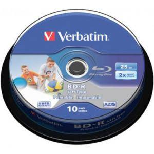 Blu-ray verbatim bd-r single layer 25gb 6x (printable) - 10 бр. в шпиндел