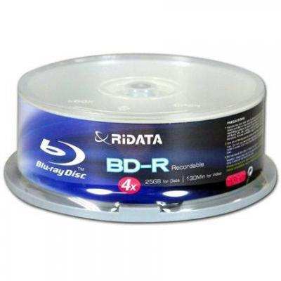 Blu-ray ridata bd-r single layer 25gb 4x - 10бр. в шпиндел