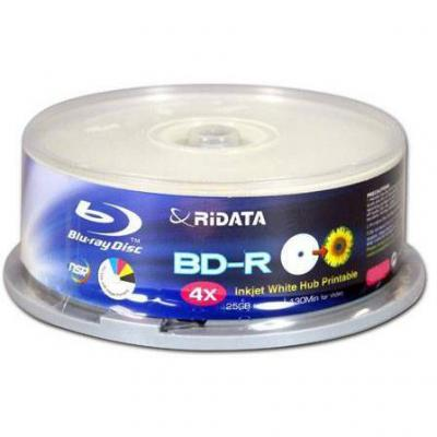 Blu-ray ridata bd-r 25gb 4x (printable) - 25бр. в шпиндел
