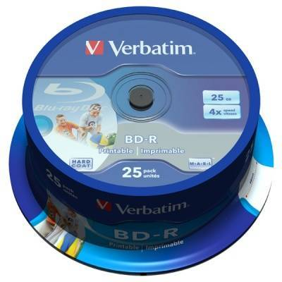 Blu-ray verbatim bd-r single layer 25gb 6x (printable) - 25 бр. в шпиндел