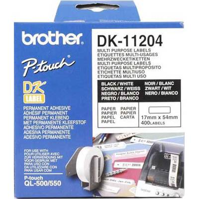Етикети brother dk-11204 multi purpose labels, 17mmx54mm, 400 labels per roll, black on white - dk11204