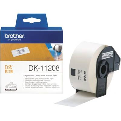Етикети brother dk-11208 large address paper labels, 38mmx90mm, 400 labels per roll, (black on white) - dk11208