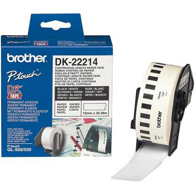 Лента brother dk-22214 white continuous length paper tape 12mm, 12mmx30.48m, black on white - dk22214