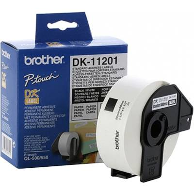 Етикети brother dk-11201 roll standard address labels, 29mmx90mm, 400 labels per roll, black on white - dk11201