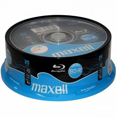 Blu-ray bd-r 4x 25gb single layer printable 25pk cake box maxell