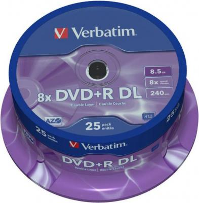Dvd+r verbatim dual layer 240мин./8.5gb 8x - 25 бр. в шпиндел