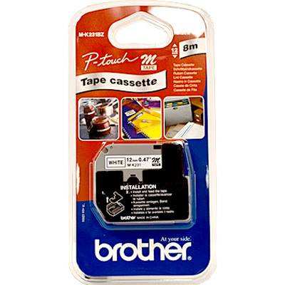Лента brother black on white tape 12 - mk231bz