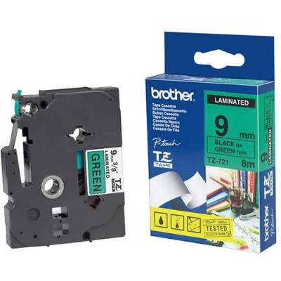 Лента brother tz-721 tape black on green, laminated, 9mm, 8m - eco - tze721