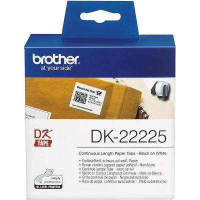 Лента brother dk-22225 white continuous length paper tape 38mm x 30.48m, black on white - dk22225