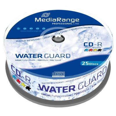 Cd-r 700mb/80min 52x waterguard photo inkjet fullprintable - 25 бр. в шпиндел