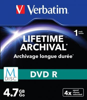Dvd-r verbatim m-disc slim case 4.7 gb 4x speed, vitesse, velocidad