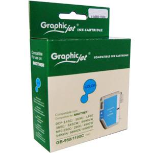 Brother ( lc980c lc1100hyc ) cyan ink cartridge, dcp385c/ dcp585cw / dcp6690cw / mfc6490cw - graphic jet