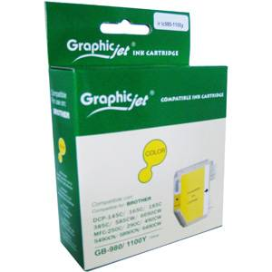 Brother ( lc980y lc1100hyy ) yellow ink cartridge, dcp385c/ dcp585cw / dcp6690cw / mfc6490cw - graphic jet
