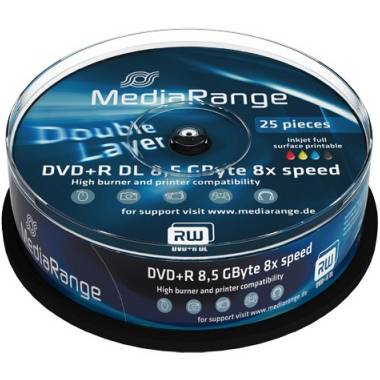Dvd+r mediarange dual layer 240мин./8.5gb 8x (printable) - 25 бр. в шпиндел