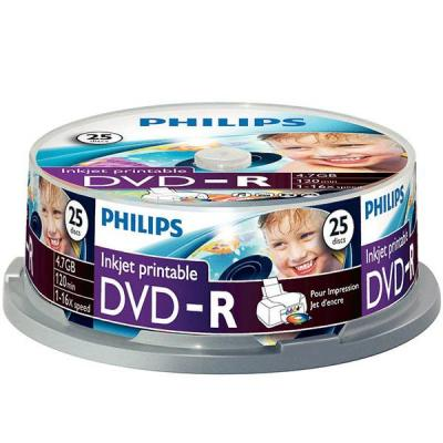 Dvd-r philips 120min./4.7gb. 16x printable  - 25 бр. в шпиндел