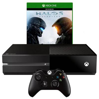 Игрова конзола - microsoft xbox one black 1tb + игра halo 5 guardians