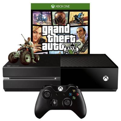Игрова конзола - microsoft xbox one black 1tb + игра gta: grand theft auto v