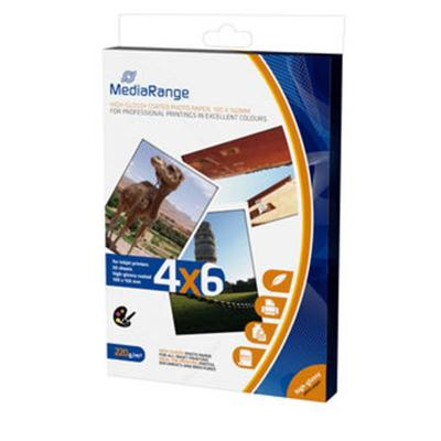 Хартия mediarange mrink104 a6 100x150mm 4x6 photo paper cards  за мастилено-струйни принтери, high-glossy coated, 220g, 50 sheets / страници