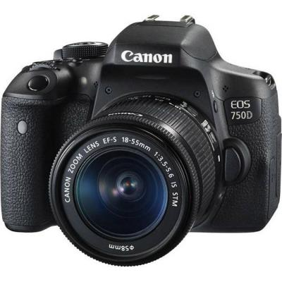 Огледално-рефлексен фотоапарат canon eos 750d + обектив ef-s 18-55 is stm + dslr entry accessory kit (sd8gb/bag/lc) | ac0592c005aa_ac0033x090