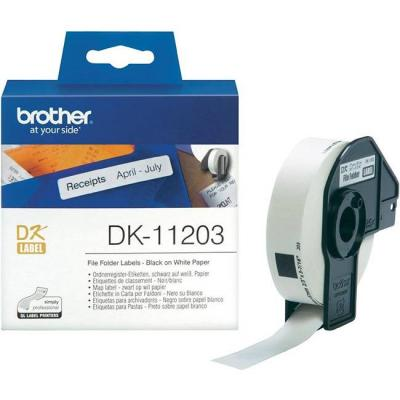 Етикетна лента brother dk-11203 file folder labels, 17mm x 87mm, 300 labels per roll, black on white, dk11203