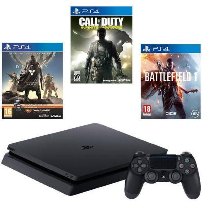 Конзола playstation 4 slim 500gb black + call of duty: infinite warfare + battlefield 1 + destiny + vanguard