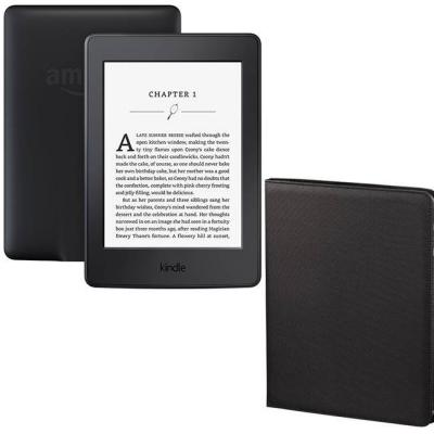 Четец за е-книги new 2016 amazon kindle touch 4gb (8.gen), (black) 6 инча glare-free touchscreen display - with special offers + калъф hama arezzo