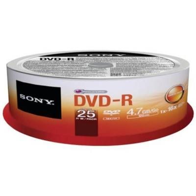 Dvd-r sony, 120min/4.7gb, 16x - 25 броя в шпиндел, 25dmr47sp