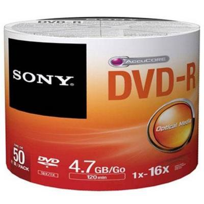 Dvd-r sony 120min/ 4.7gb, 16x - 50 броя в целофан, 50dmr47sb