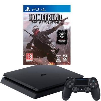 Конзола playstation 4 slim 500gb black, sony ps4 + игра homefront: the revolution за playstation 4