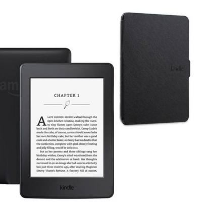 Четец за е-книги amazon kindle glare-free 6 инча, touch 4gb (8.gen),черен (black) touchscreen display, wi-fi e-book reader, 2016 + черен калъф