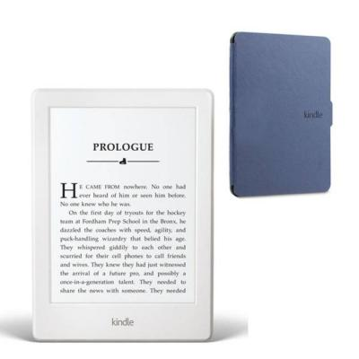 Четец за е-книги amazon kindle glare-free 6 инча, touch 4gb (8.gen), бял,(white) touchscreen display, 2016, wi-fi e-book reader + син калъф