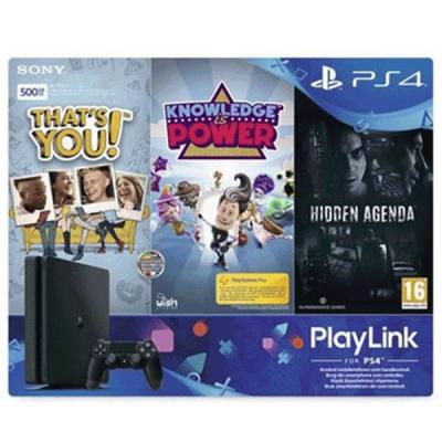 Конзола playstation 4 slim 500gb black, sony ps4 + knowledge is power, hidden agenda & that's you