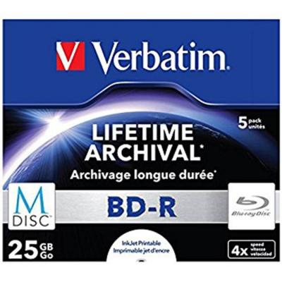 Mdisc lifetime archival bd-r - 25gb, 4x speed, printable