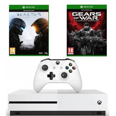 Конзола xbox one s 500gb + halo 5 guardians + gears of war ultimate edition