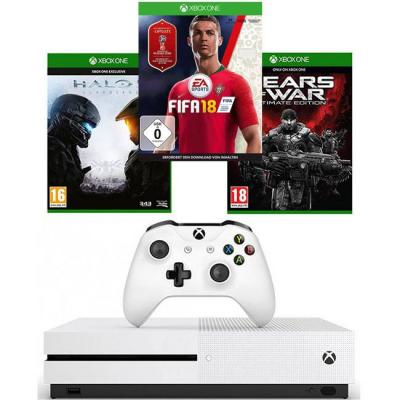 Конзола xbox one s 500gb + halo 5 guardians + gears of war ultimate edition + игра fifa 18 за xbox one