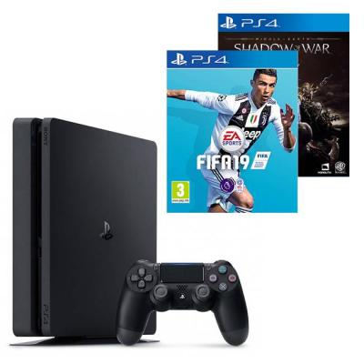 Конзола playstation 4 slim 500gb black, sony ps4+игра fifa 19 за playstation 4+игра middle-earth: shadow of war за playstation 4