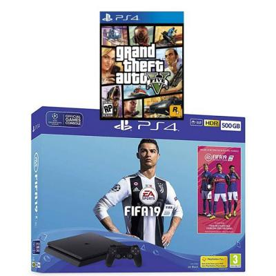 Конзола playstation 500gb fifa 19 bundle with ultimate team icons and rare player pack (ps4) + игра gtav (gta5): grand theft auto v за ps4