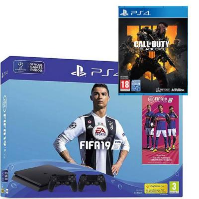 Конзола fifa 19 500gb ps4 bundle - with second dualshock 4, fifa 19 ultimate team icons and rare player pack (ps4) + игра call of duty: black ops 4