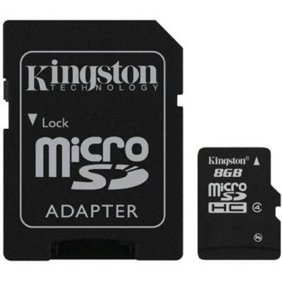 Карта памет kingston 8gb микро sdhc class 4 flash card + sd adapter, 4 mbps. sdc4/8gb