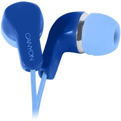 Слушалки canyon stereo earphones with inline microphone, сини. cns-cepm02bl