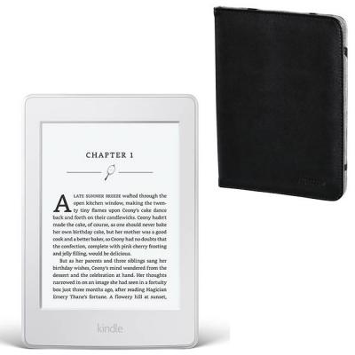 Четец за е-книги бял kindle paperwhite iii, 6 инча300 ppi with built-in light, wi-fi - includes special offers + калъф черен, hama-173568