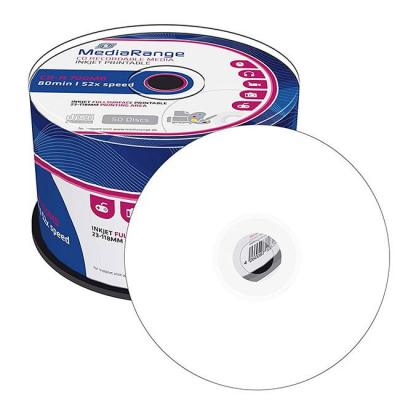 Cd-r mediarange 700mb /80min 52x speed, inkjet fullsurface printable, cake 50