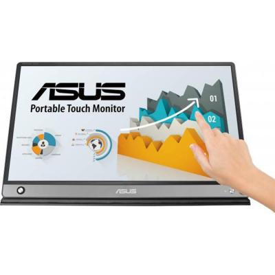 Монитор asus zenscreen touch mb16amt, 15.6 инча fhd (1920x1080) ips, usb type-c, micro hdmi, battery, сив, asus-mon-mb16amt
