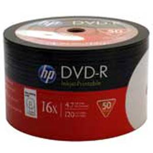 Dvd-r hp (hewlett pacard) 120min./4.7gb. 16x (printable) - 50 бр. в целофан