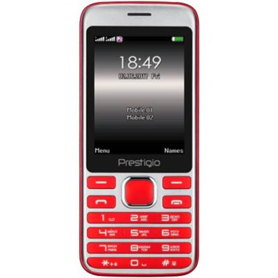 Мобилен телефон prestigio grace a1, 2.8 инча, dual sim, mt6261d, 0.3mp камера, bluetooth, fm, 950mah battery, en+ru keyboard, червен, pfp1281duored