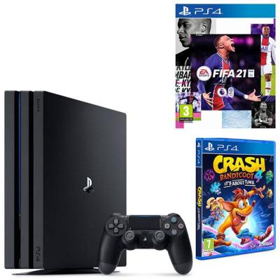 Конзола playstation 4 pro, 4k, 1тв, sony ps4 pro + electronic arts игра fifa 21 ps4 + игра activision crash bandicoot 4: its about time ps4